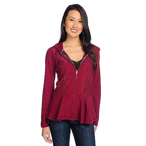Cute sweatshirt:  French Terry Long Sleeved Lace Front Zip-up Peplum Sweatshirt