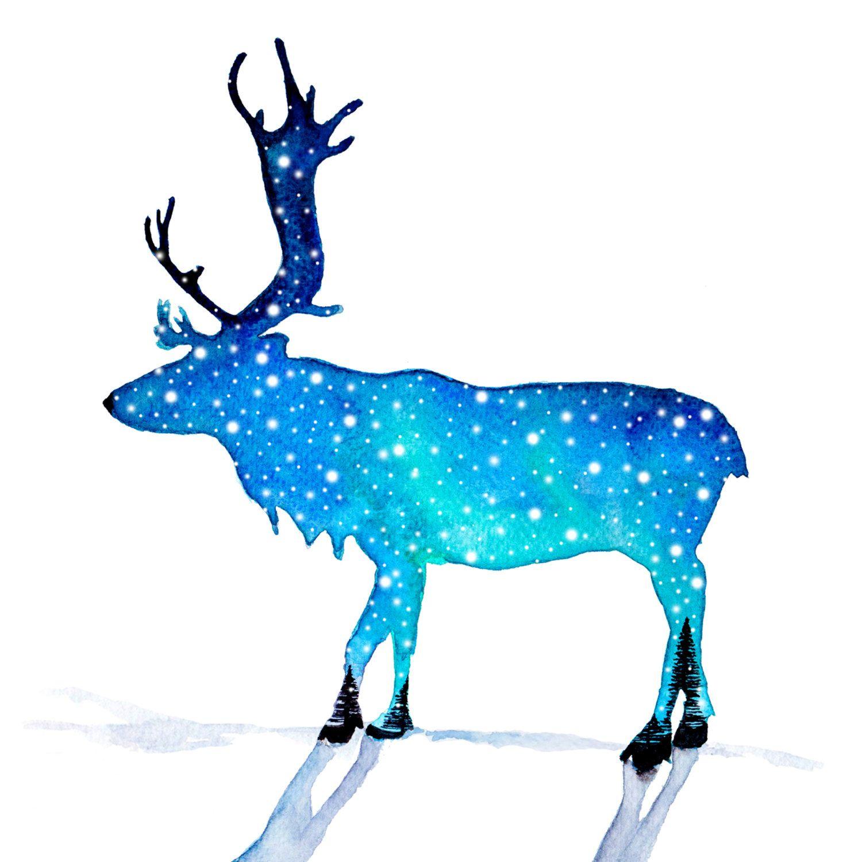 reindeer watercolour painting christmas winter snow print