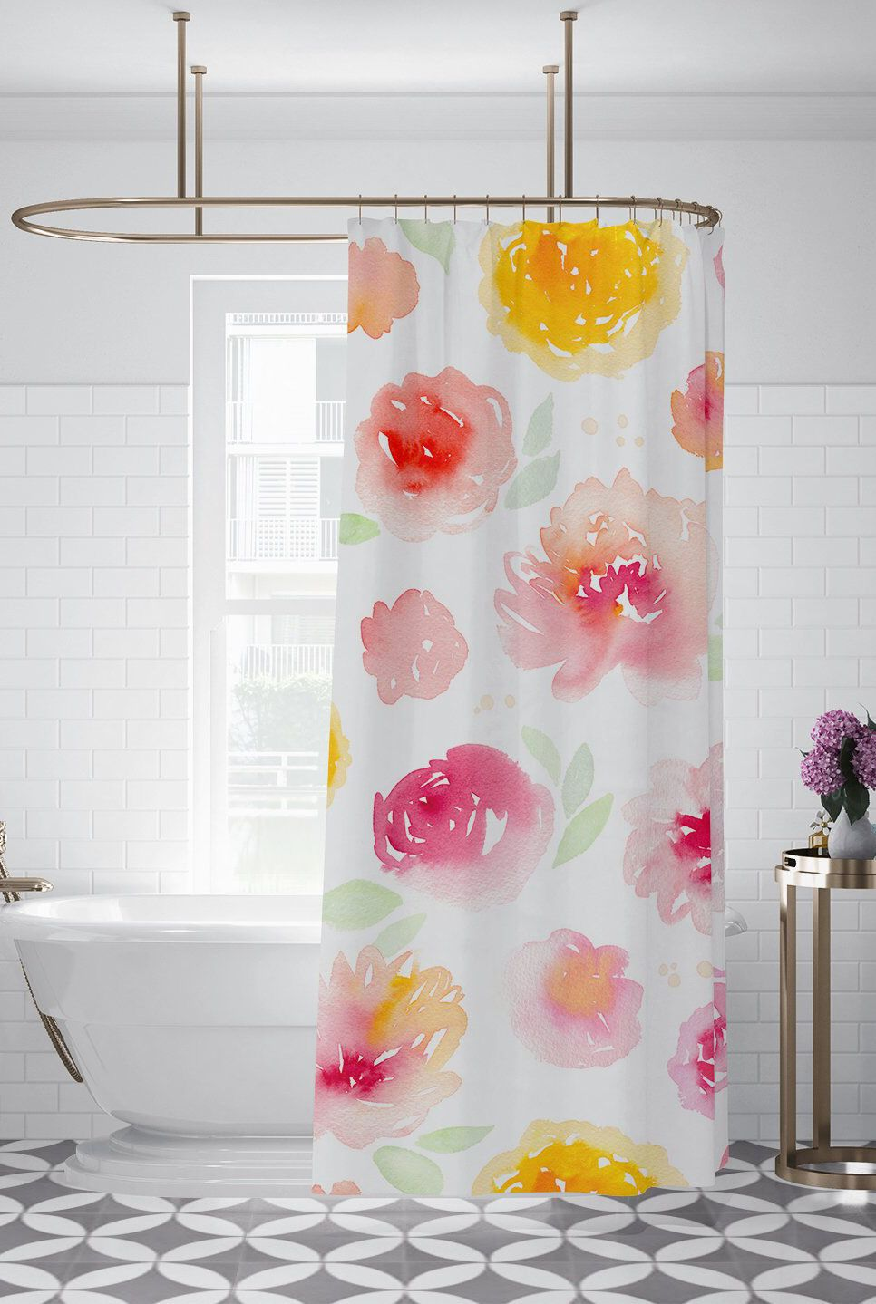 Pink Yellow Floral Pattern Fabric Shower Curtain Custom Printed
