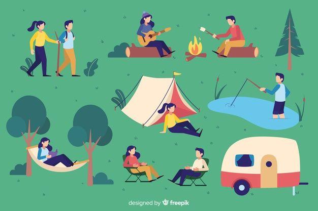 フラットなデザインのキャンプの人々のパック 無料ベクター | Free Vector #Freepik #freevector #people