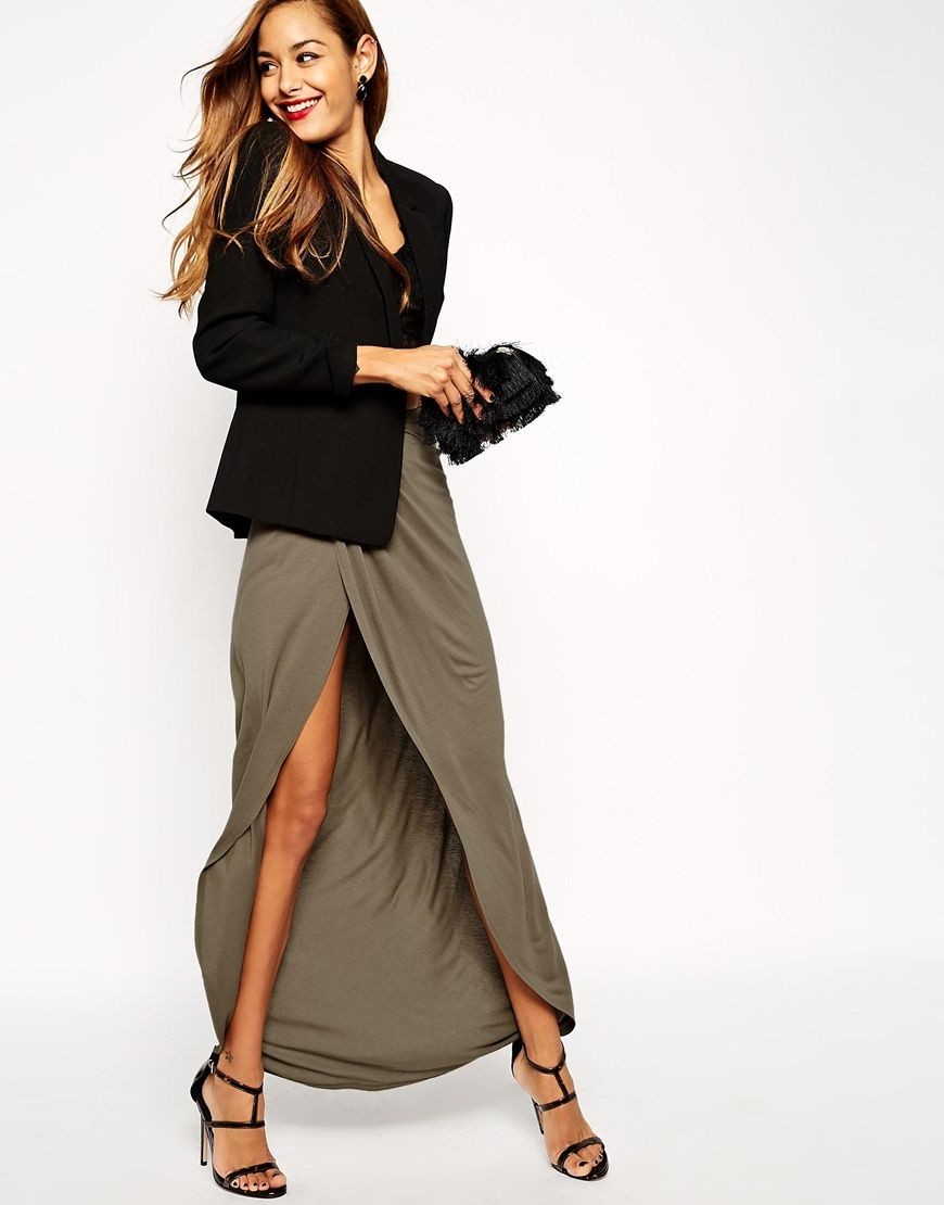 ASOS Wrap Maxi Skirt in Jersey | into it. | Pinterest | Maxi ...