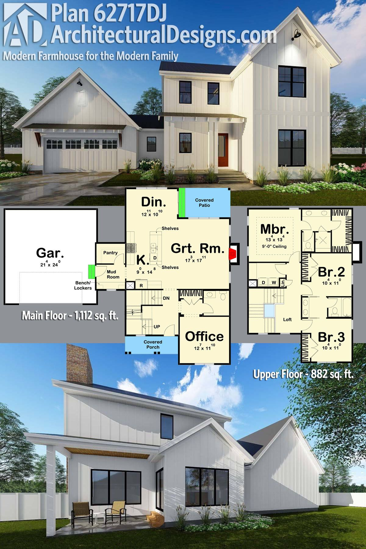 Architectural Designs 2 Story Modern Farmhouse Plan gives