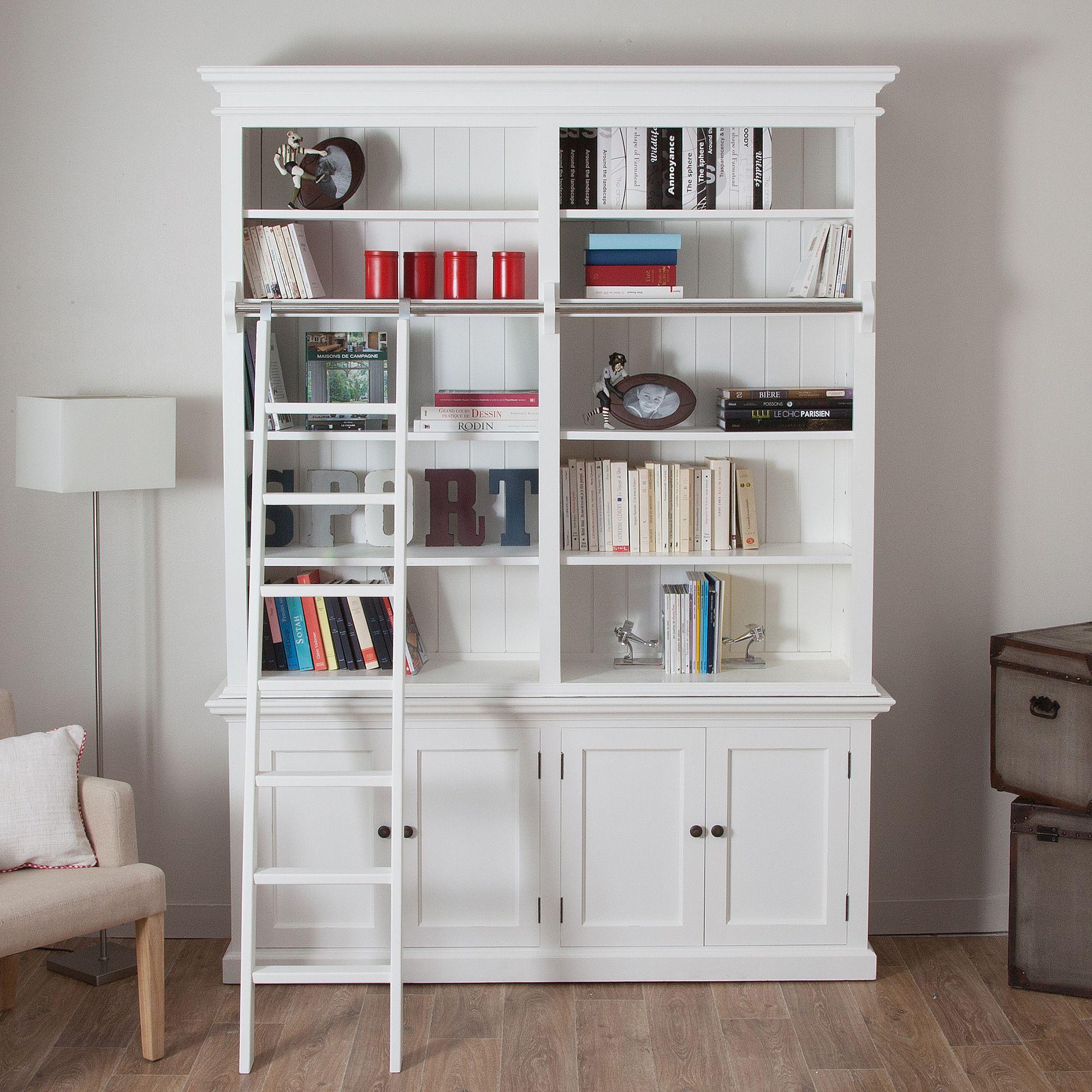 Biblioth Que Avec Chelle En Acajou Cottage Chez Delamaison Fr  # Bibliotheque Echelle Ikea