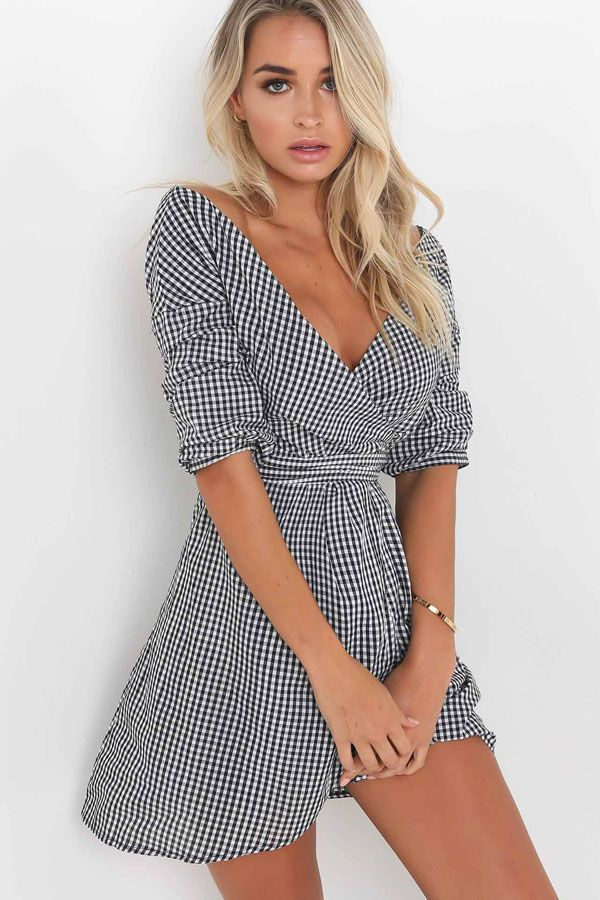 dfffaabf6a Every girl needs a on trend dress in their wardrobe which is why our Black  White Plaid Pattern V Neck Tie Waist Chic Wrap Dress is a total must have.
