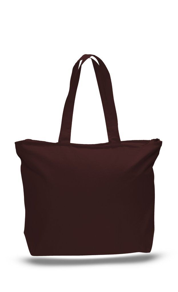 082c368f0 Strong Zippered Top Canvas Tote Bag with Zipper Inside Pocket - TG261