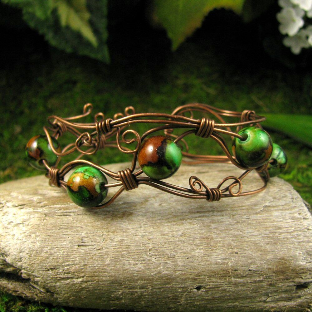 Wire Wrapped Open Copper Cuff Faerie Moss Vine by TheDreamFaire, $30.00