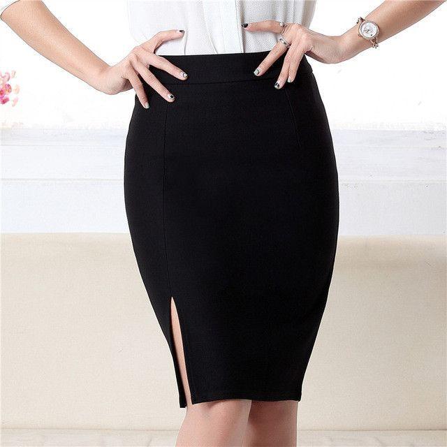 ae83d2128854f0 Fashion spring autumn 2016 new women skirt plus size high waist work slim  pencil skirt open