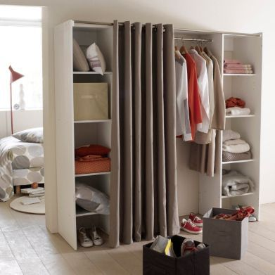 dressing complet extensible 1 penderie 2 colonnes 4 tag res coloris blanc ethan la redoute. Black Bedroom Furniture Sets. Home Design Ideas