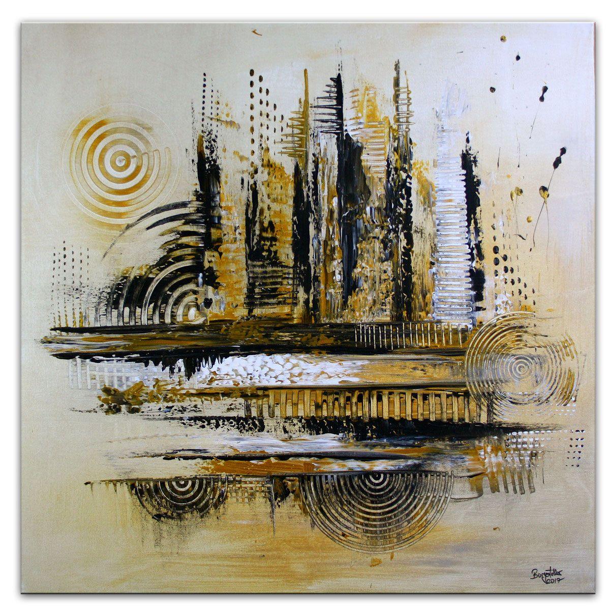 Abstrakte Skyline Gemalt 2 Silber Gold 80x140 In 2020