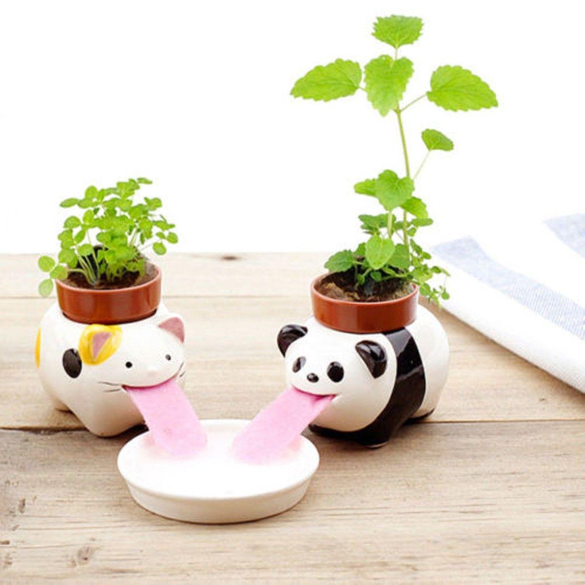 Diy mini ceramic animal tougue selfwatering potted plant
