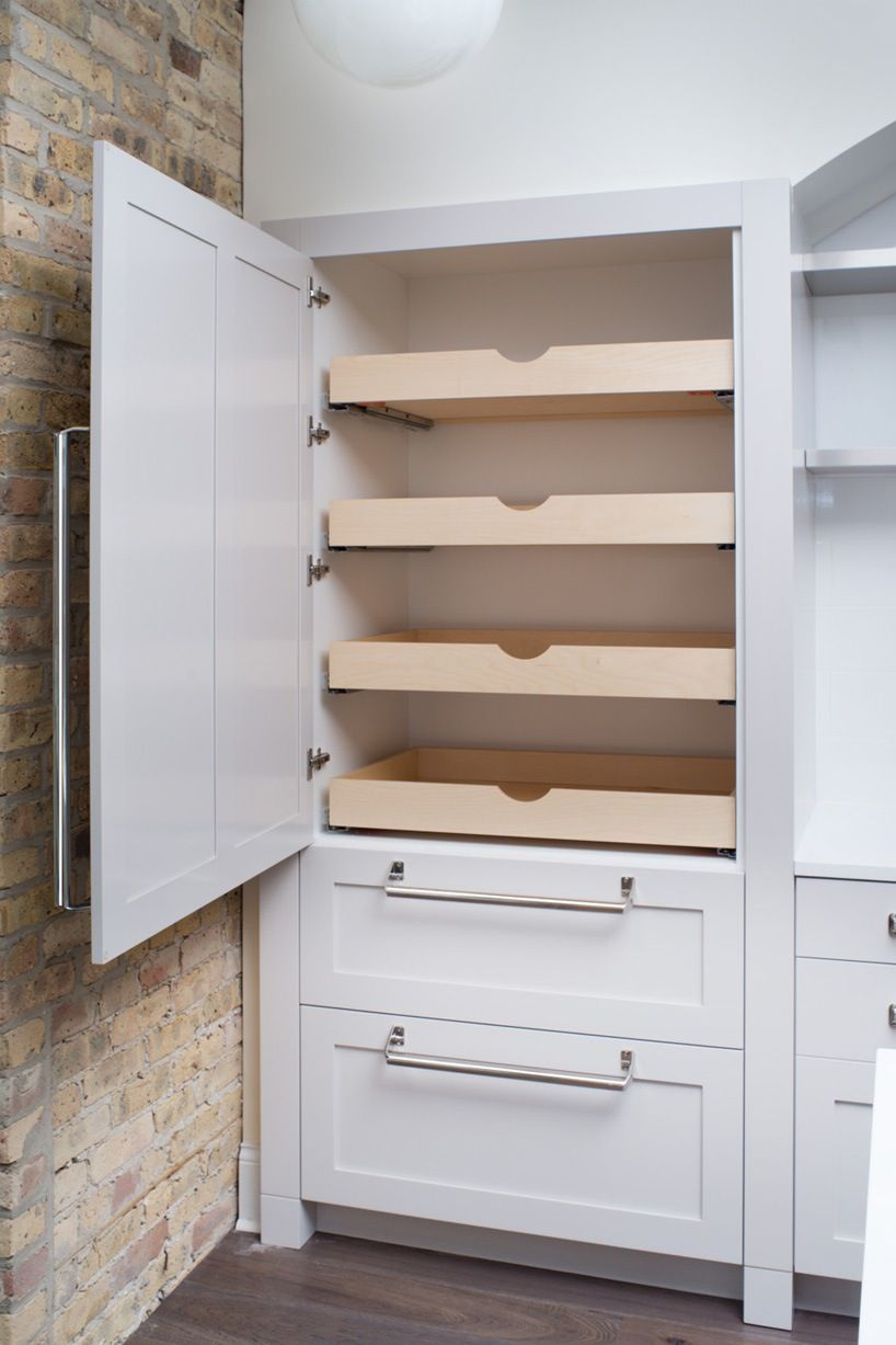 Pull Out Pantry Doors With White Cabinets And Bar Handle Hardware