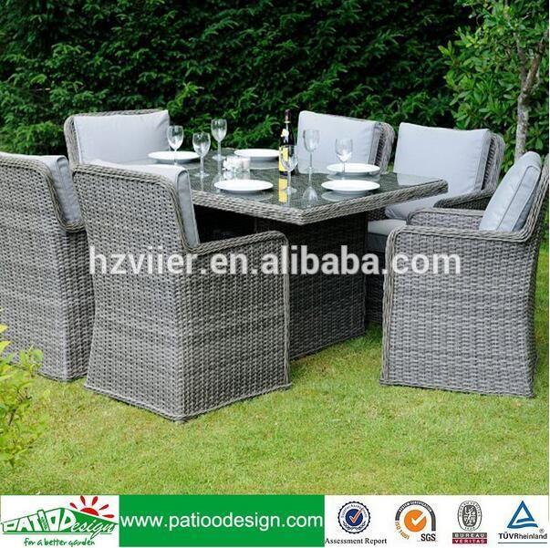 Jardín PE patio de ratán sintético muebles cómoda mesa de comedor ...