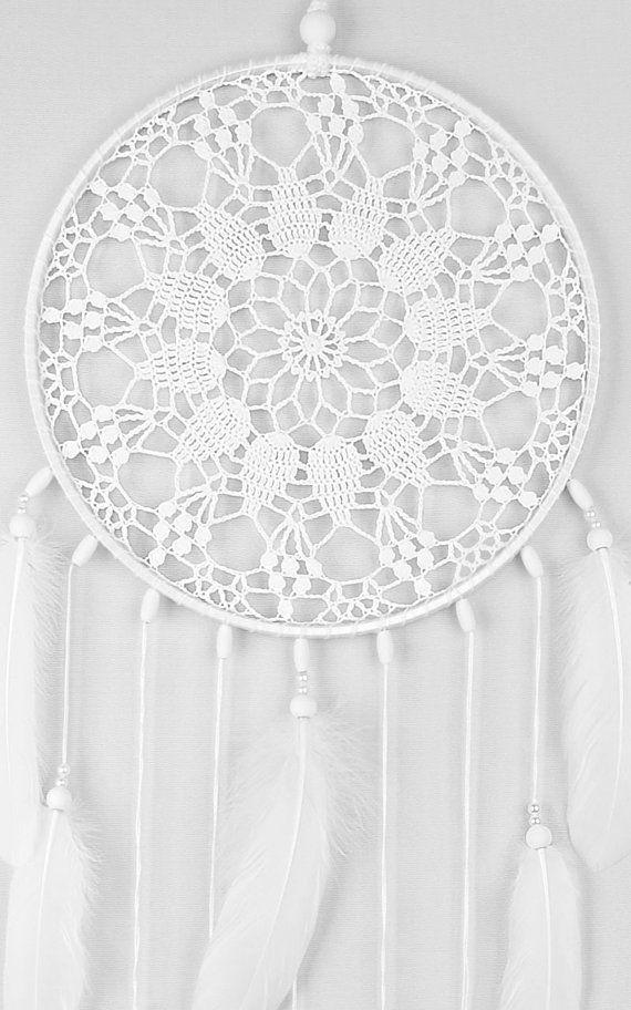 Large White Dream Catcher, Crochet Doily Dreamcatcher, Wedding ...