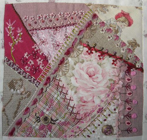 Pink & Burlap themed Crazy Quilt via Pascale R. : 1er crazy quilt / 1st crazyquilt by Et Brode Le Papillon..., via Flickr