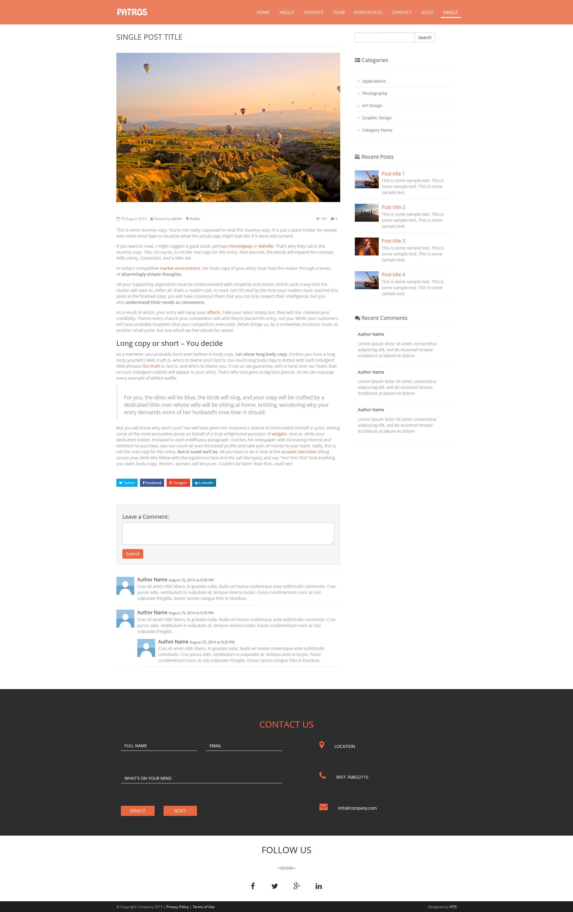 PATROS - SINGLE POST Demo: http://www.atis.al/templates/patros ...