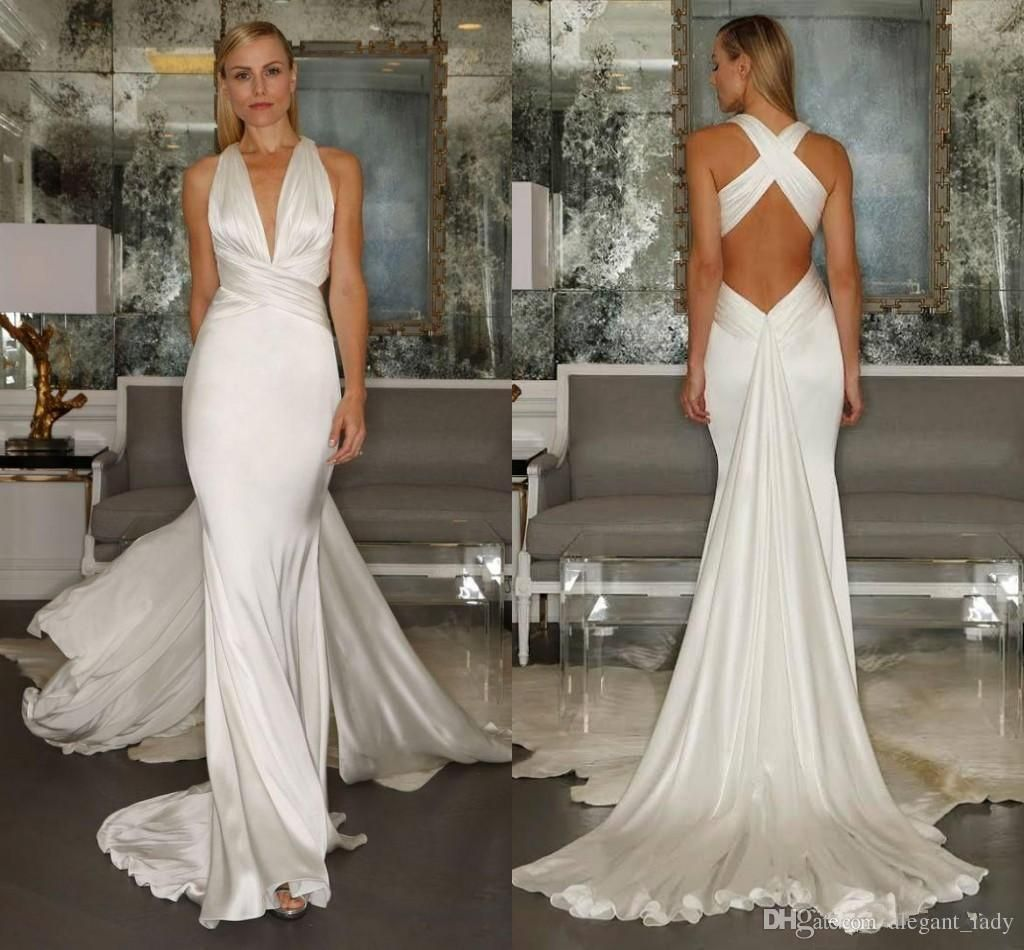 Discount Custom Vintage Greek Style A Line Detachable: Vintage Greek Goddess Beach Wedding Dresses Mermaid 2018