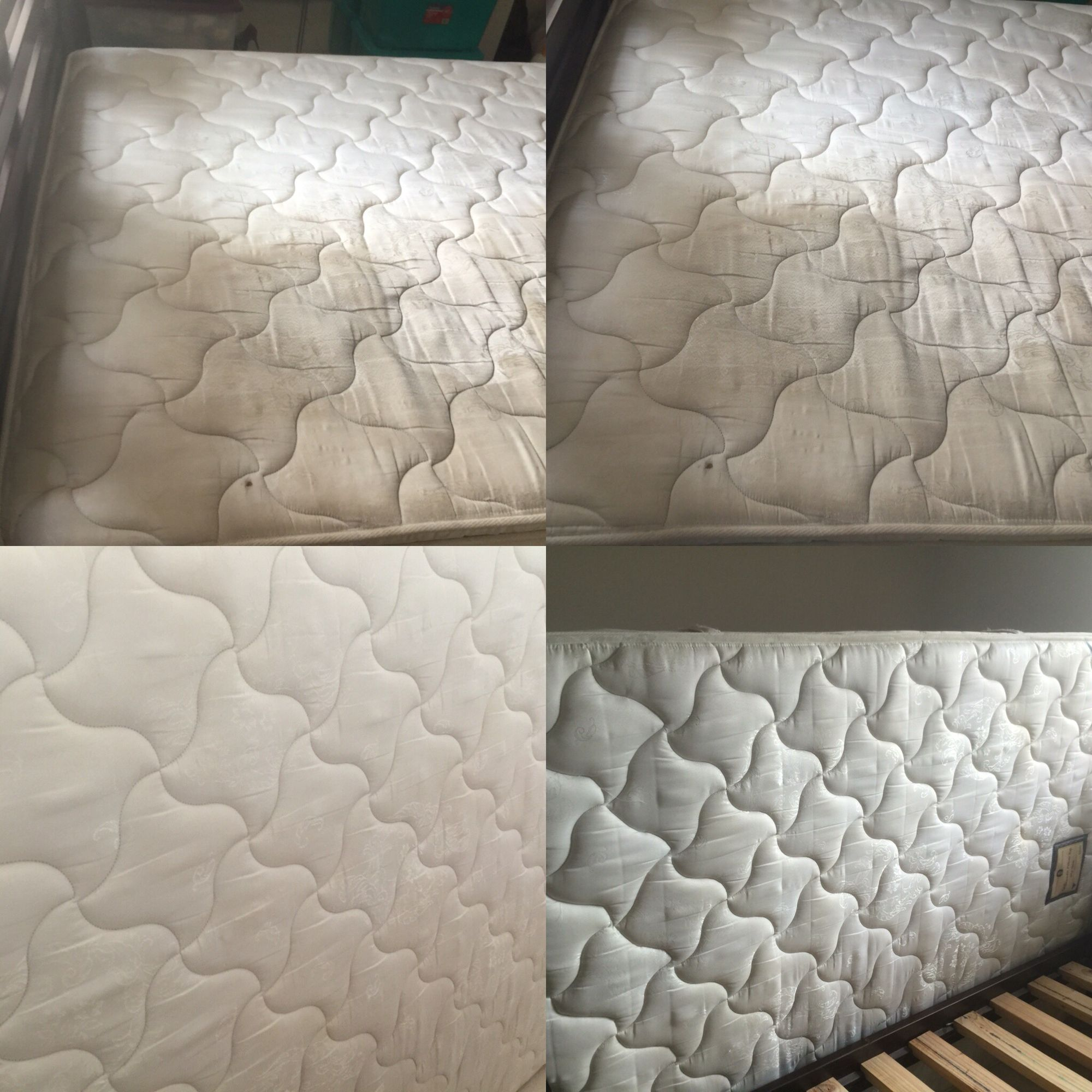 here is a mattress i steam cleaned it was heavily stained but after