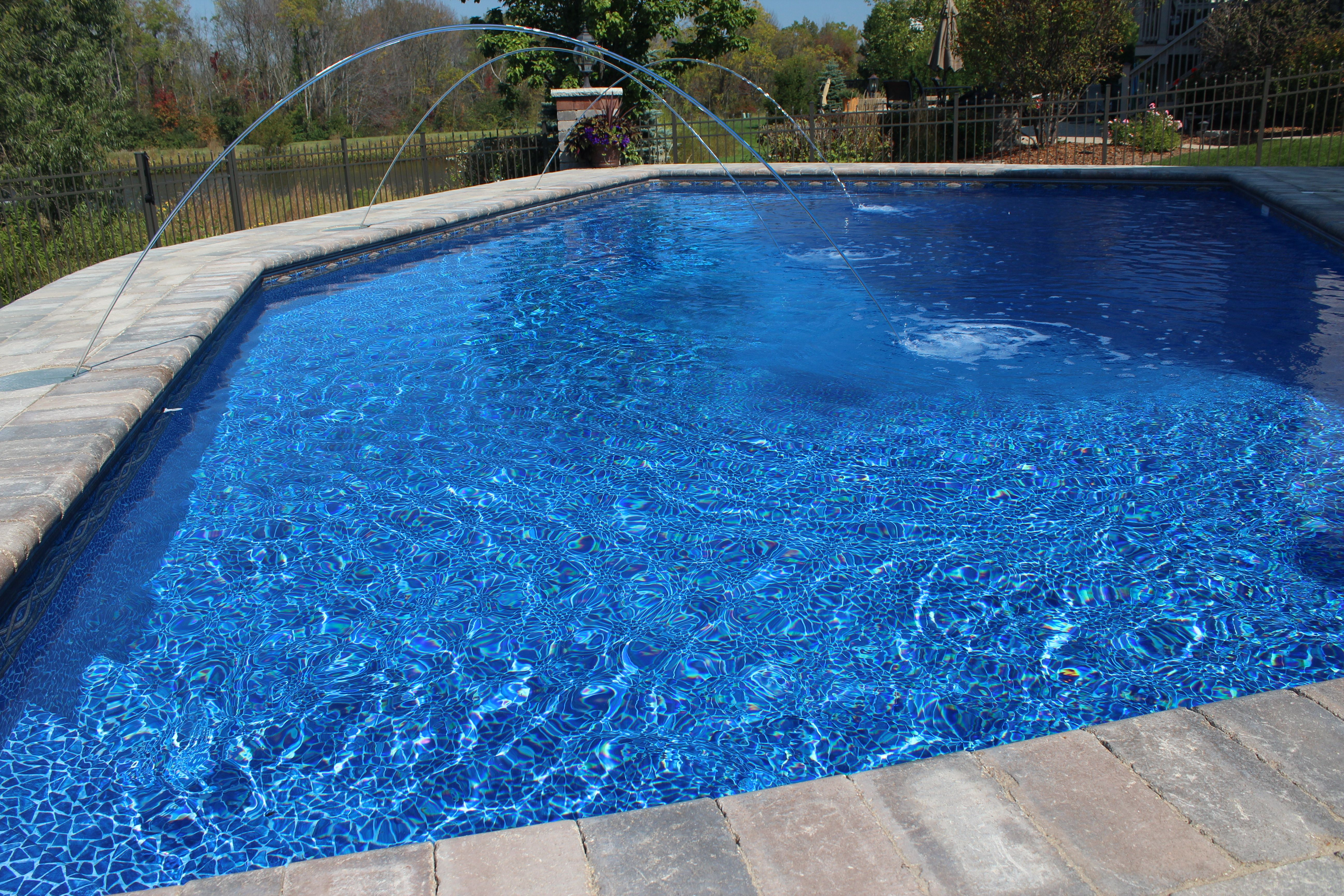 This is a pool we built in Lockport, IL. This is a custom Lazy L ...