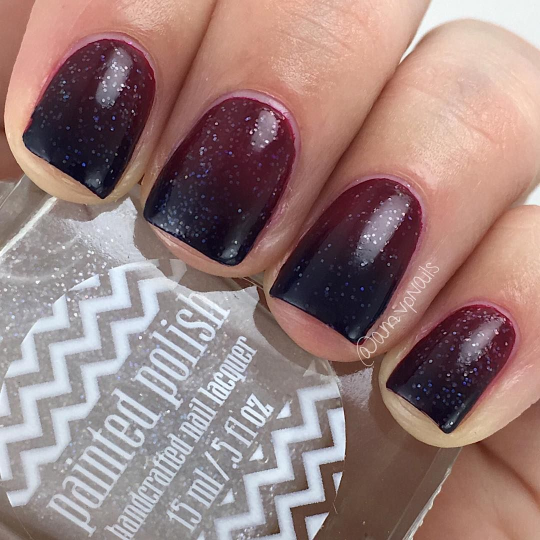 deep burgundy to black ombre nails w/ shimmer particles @amvpnails ...