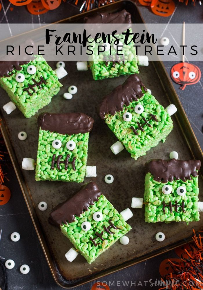 frankenstein rice krispie treats make a fun kid friendly snack just perfect for halloween