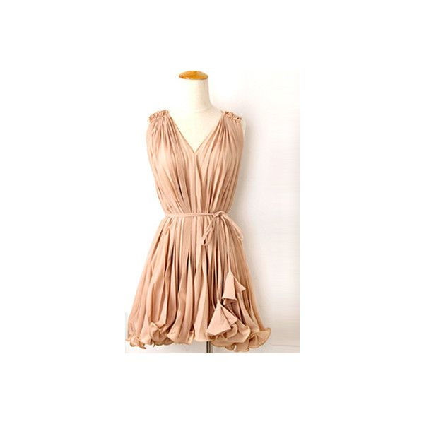 Nude Chiffon Pleated Dress$56 ($56) ❤ liked on Polyvore