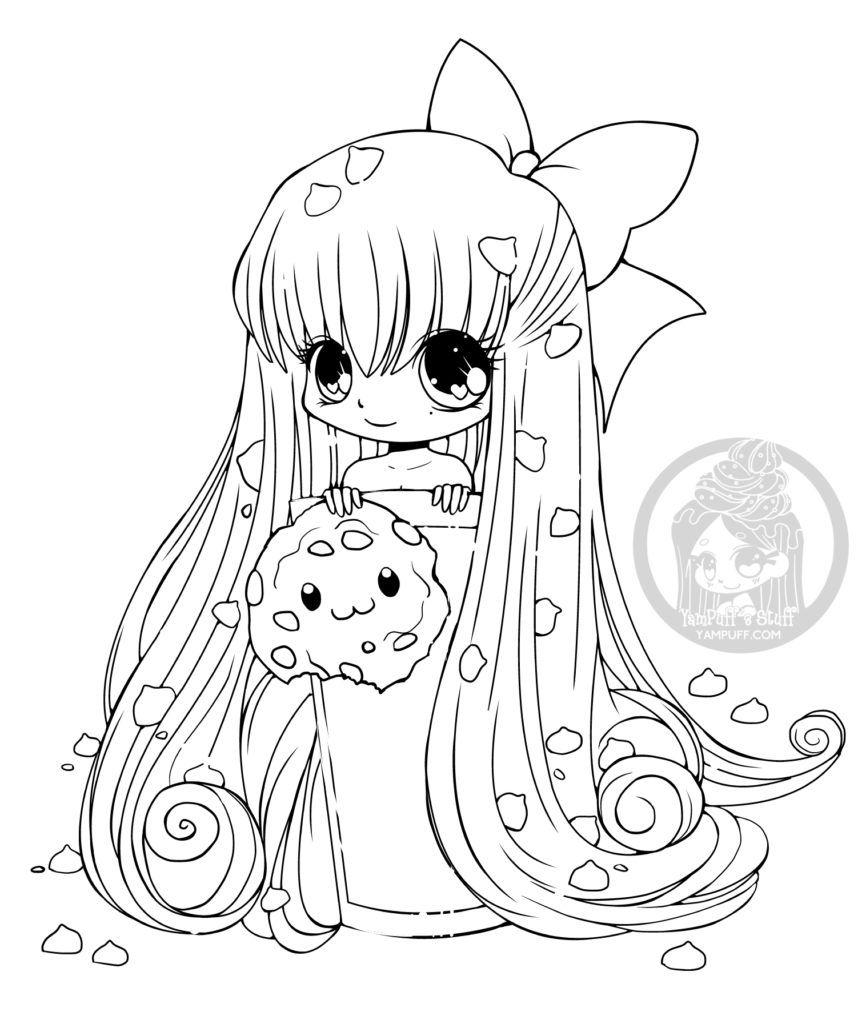 Coloriage Fille Et Chat.Chibi Biscuit Dessin Manga A Imprimer Gratuit Par Yampuff