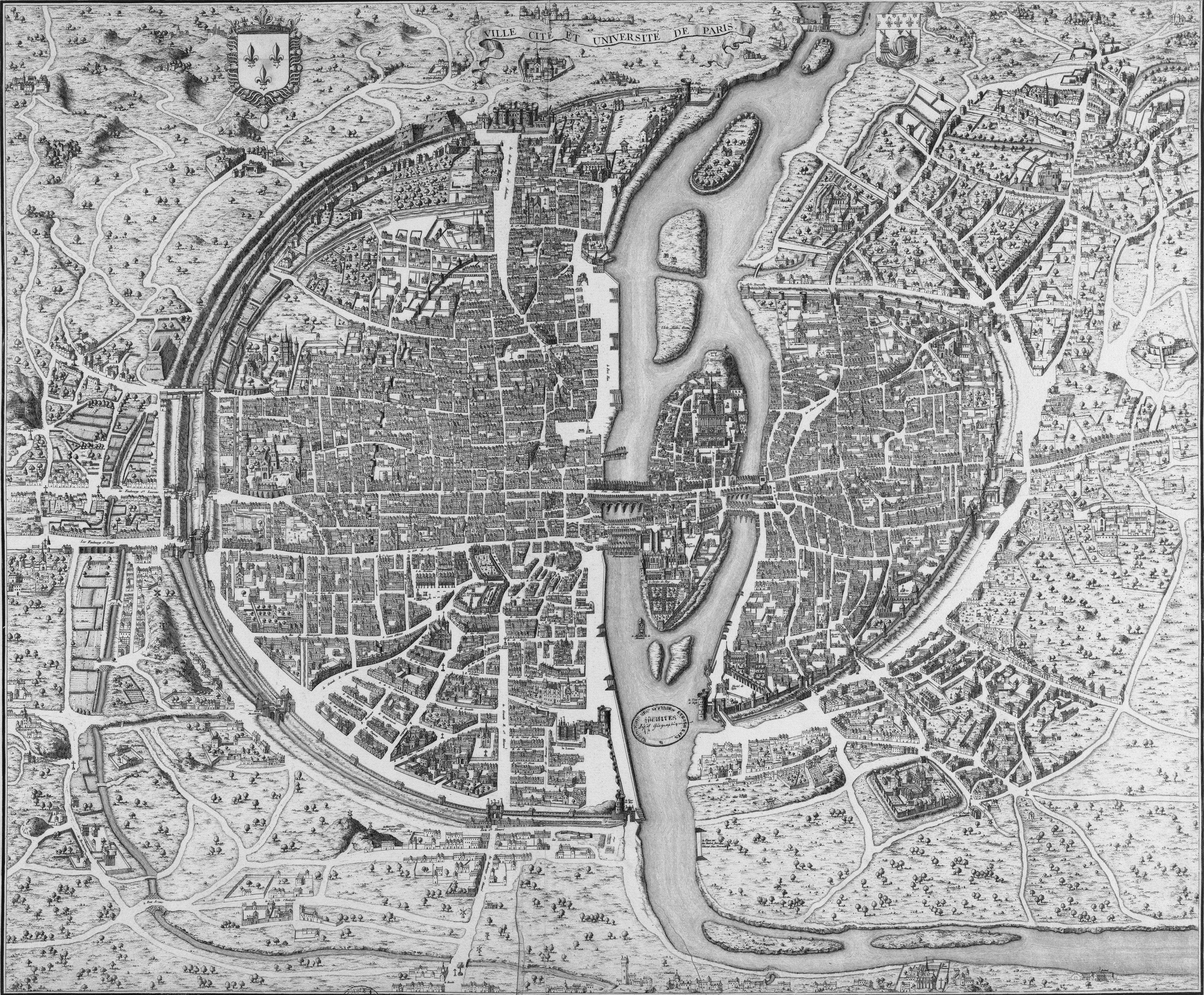 Old Paris City Map