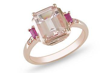 Morganite, Ruby & Diamond Pink Gold Ring