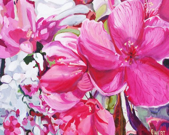 Pink Plum Blossoms  Acrylic on canvas  free by brushnpalette, $300.00