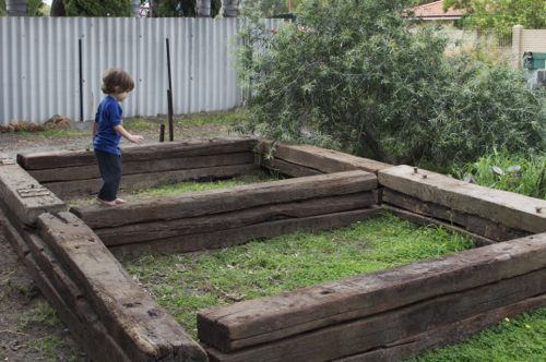Railroad Tie Raised Bed Garden Patio Beds