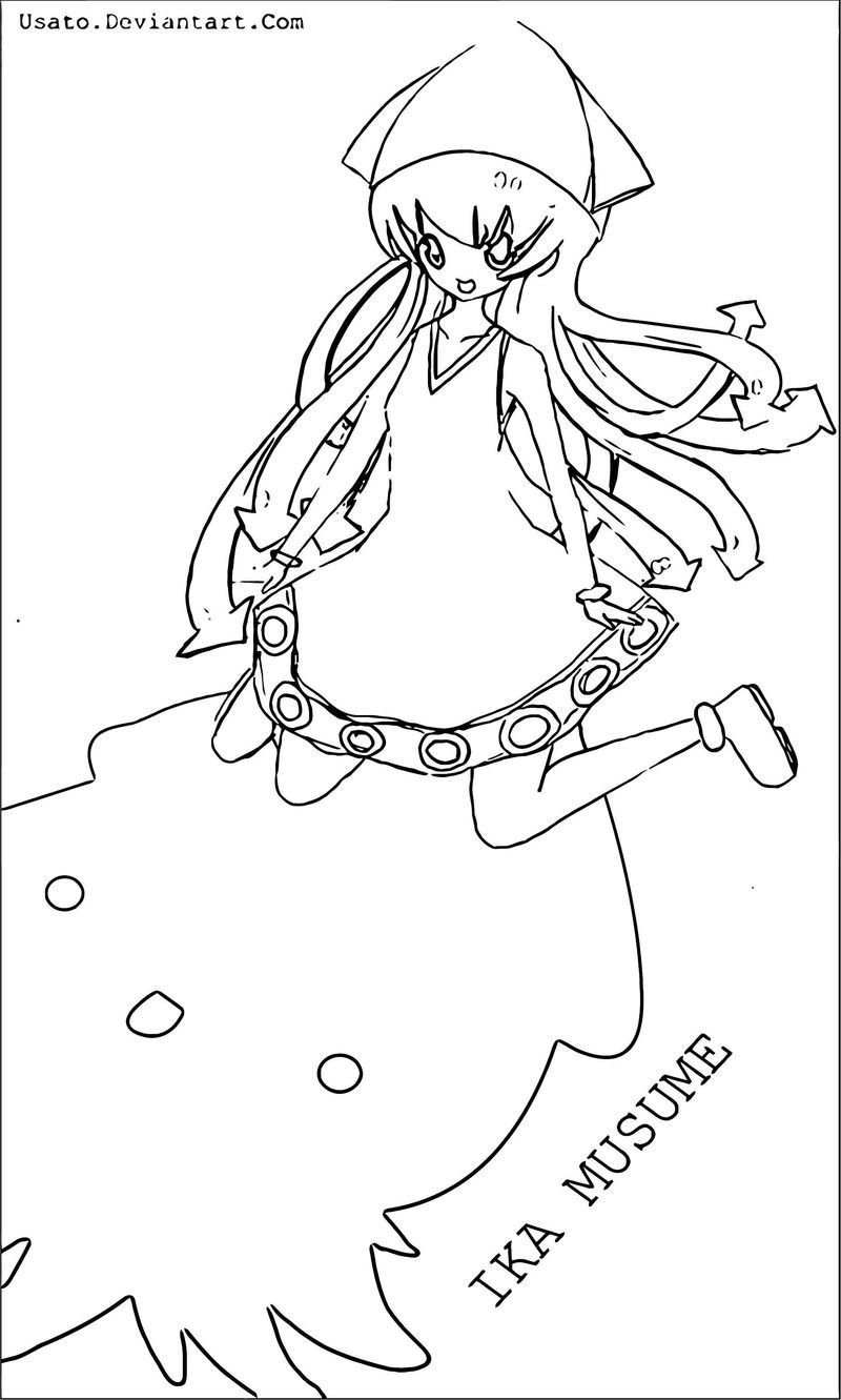 Squid Girl Coloring Page 196 Coloring Pages For Girls Santa Coloring Pages Coloring Pages