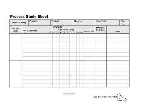 process time study template standard work process study sheet - time study template