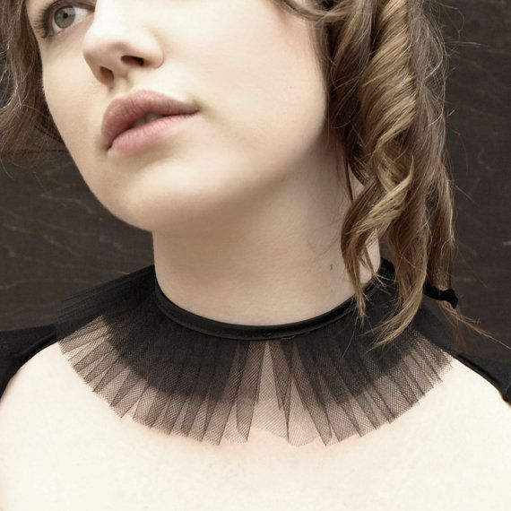 Black tulle choker collar- Lucy - ruffled with satin ribbon <3 - DIY Idea tyll krave