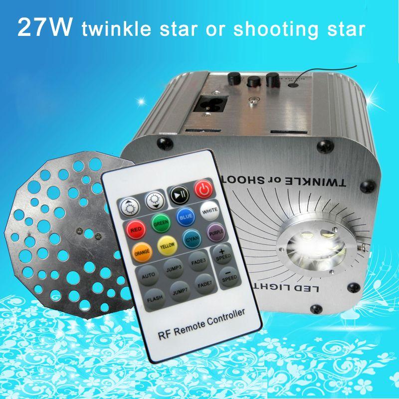 New 27w Single White Shooting Or Twinkle Star 20key Rf Remote Led Plastic Optic Fiber Engine Machine Led Light Accessories Shooting Stars