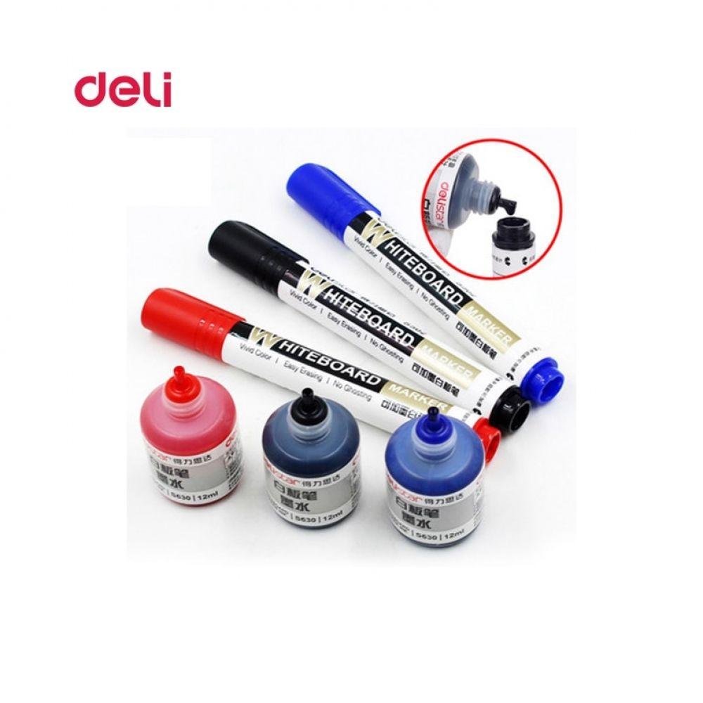 Deli Erasable Whiteboard Marker Pen 1pcs Whiteboard 1 Bottle Ink Set Office Dry Erase Markers Blue Black Red Office Supplies Price 9 9 Marker Si Se Kirmizi