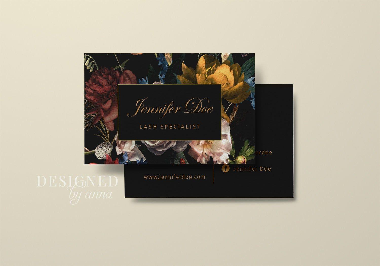 Floral Business Card Design Printable Business Card Template Modern Business Cards Flowers Esthetician Makeup Artist Lash Technician Brow In 2021 Makeup Artist Business Cards Design Floral Business Cards Printable Business Cards