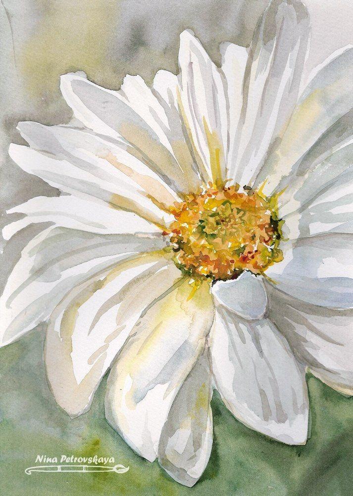 яркий цветы ромашки картинки акварель тортик