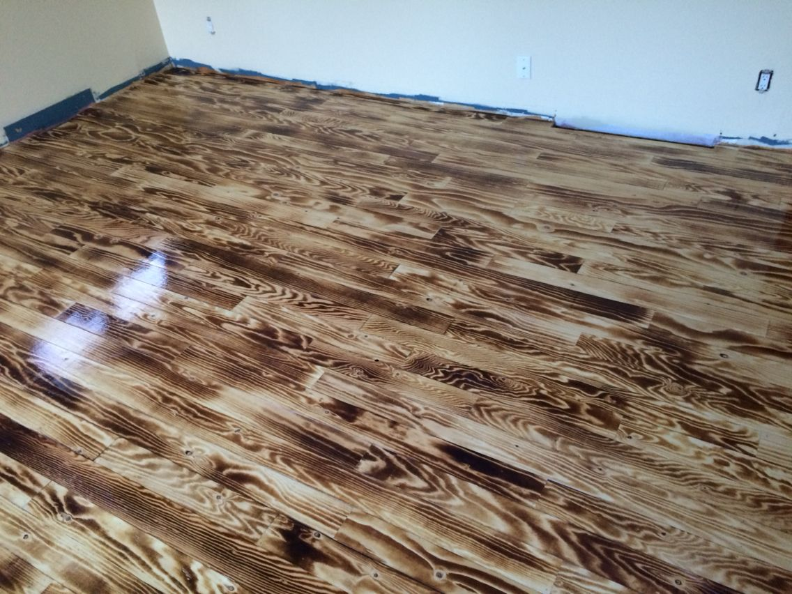 Plywood Floor I Made Myself With The Torch Very Very Nice Wood Floor Design Diy Wood Floors Burnt Plywood Floor