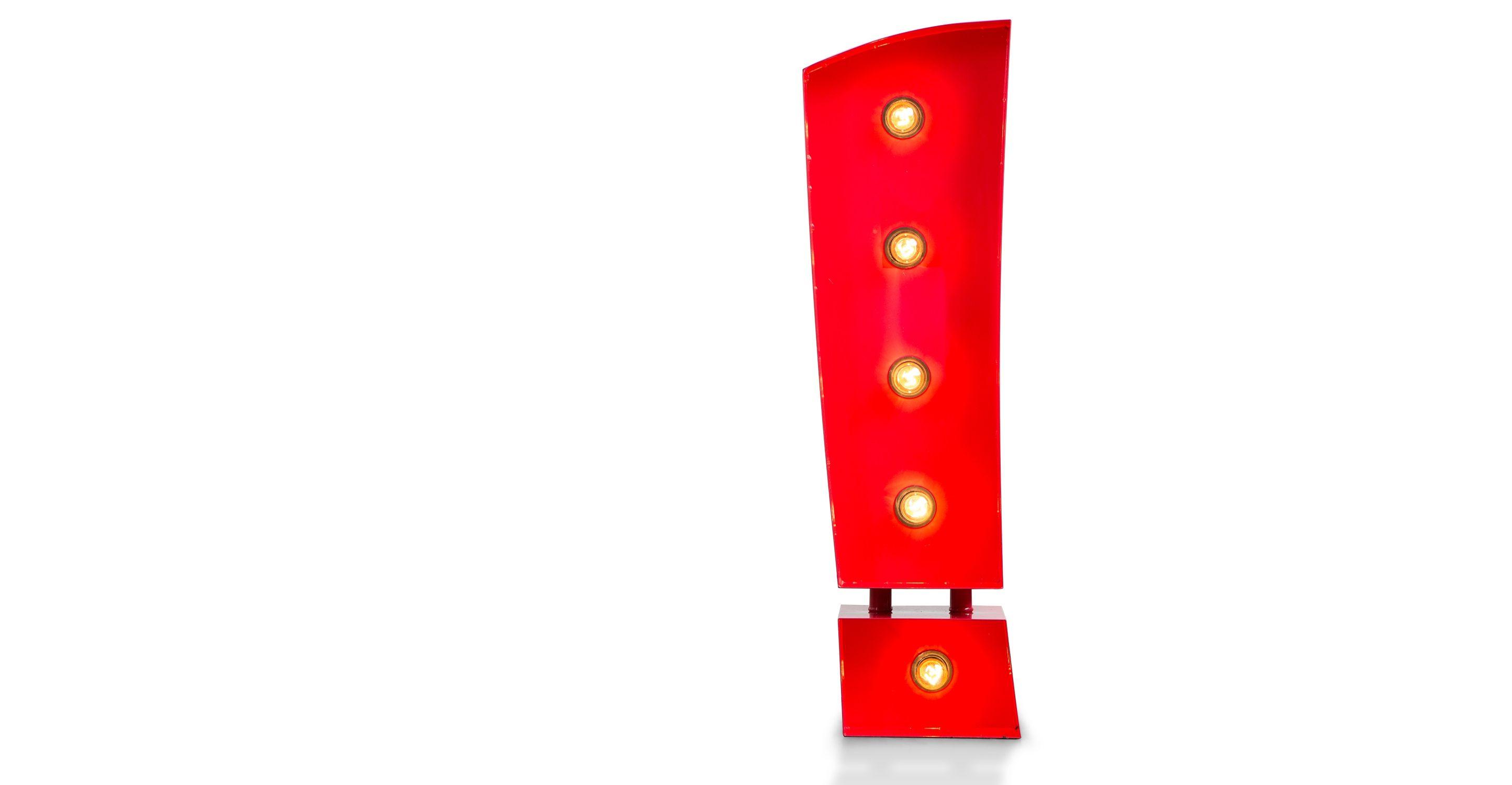 Lampada da tavolo esclamazione Broadway, rossa