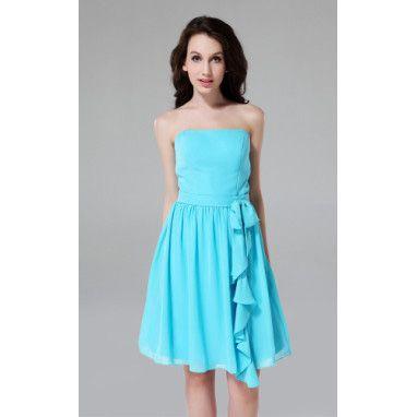 A-line Strapless Knee-length Chiffon Over Satin Bridesmaid Dress