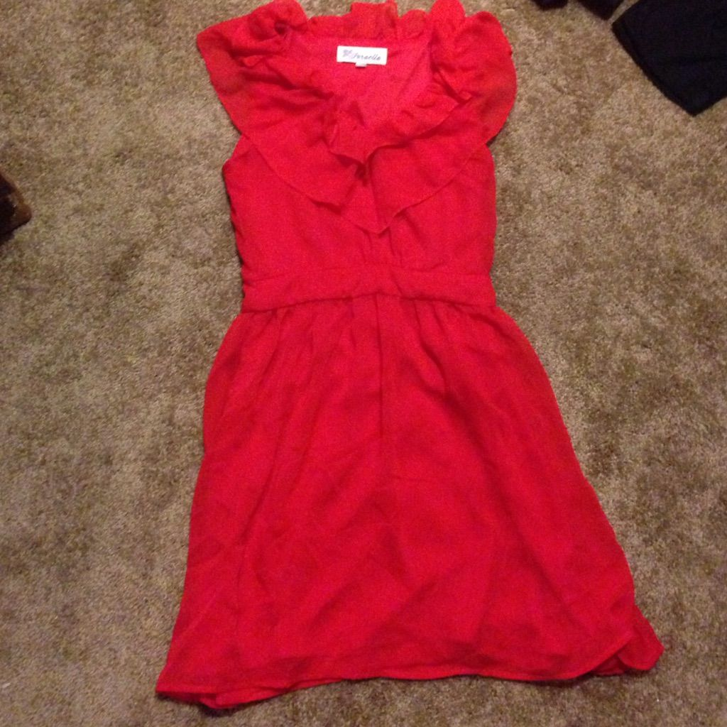 Red Dress With Ruffled Neckline