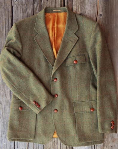 Vintage Classic Mens British Tweed Shooting Fox Hunting Jacket 44 R Equestrian Older Mens Fashion Mens Jackets Hunting Jackets