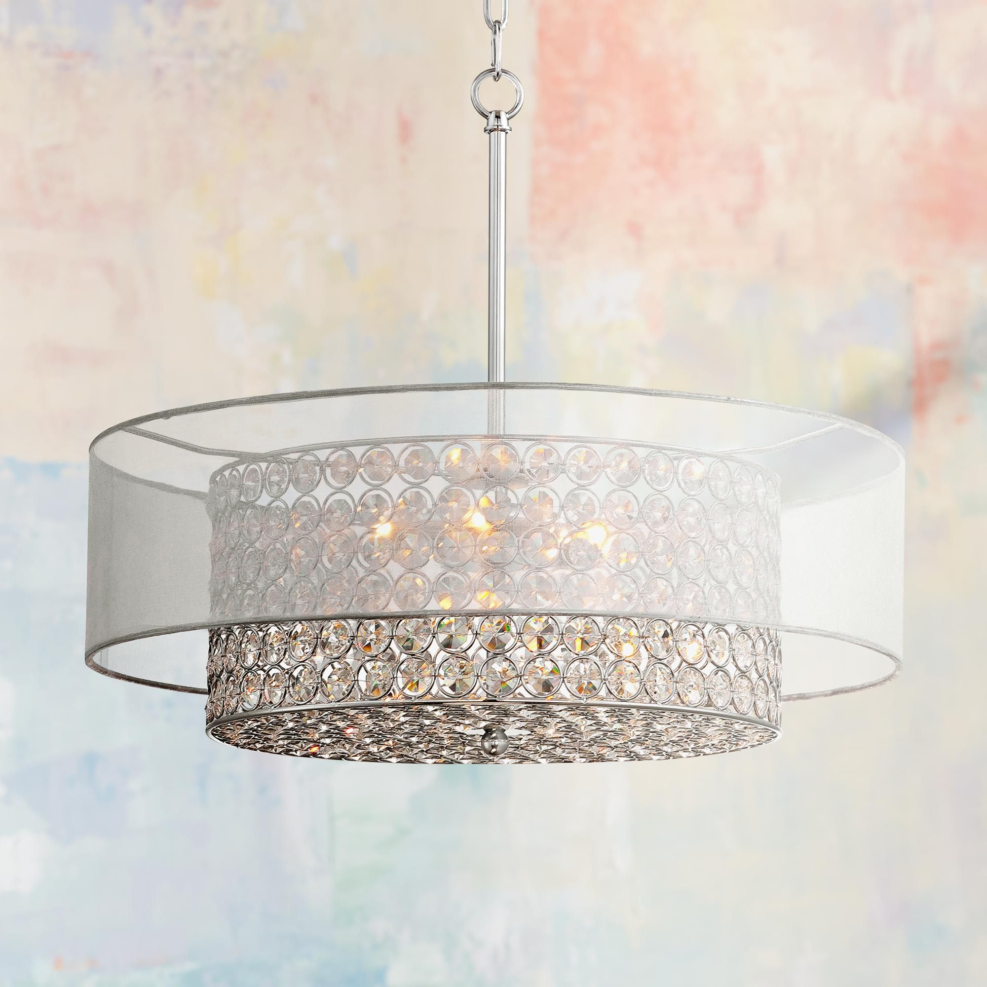 Possini Euro Viviette 20 Wide Crystal Drum Pendant Light