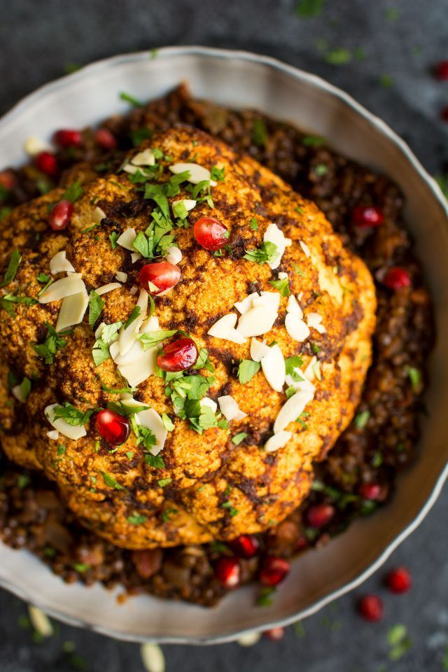 Vegan Christmas Dinner.Vegan Christmas Dinner Main Dish Baked Cauliflower With Spicy Lentils