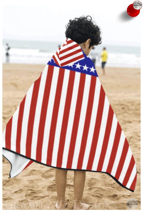 Patriotic Usa Stars And Stripes Kids Hooded Bath Towels Id