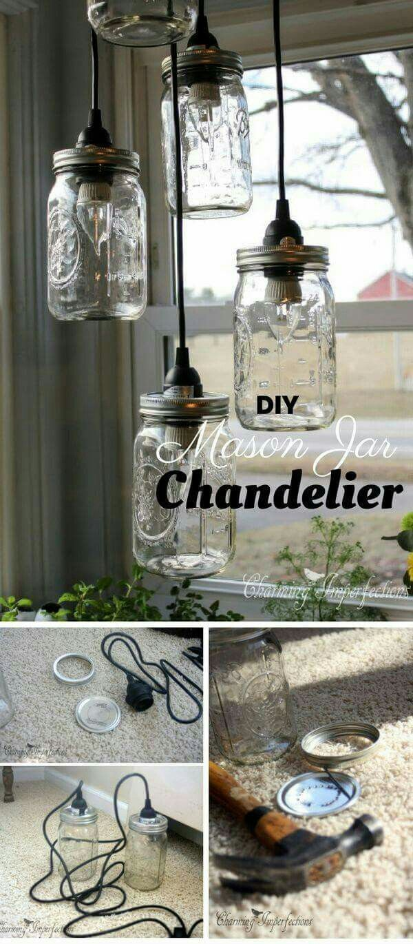 Pin by vicky howard on cool diy ideas pinterest farm house jar check out the tutorial mason jar chandelier industry standard design arubaitofo Gallery