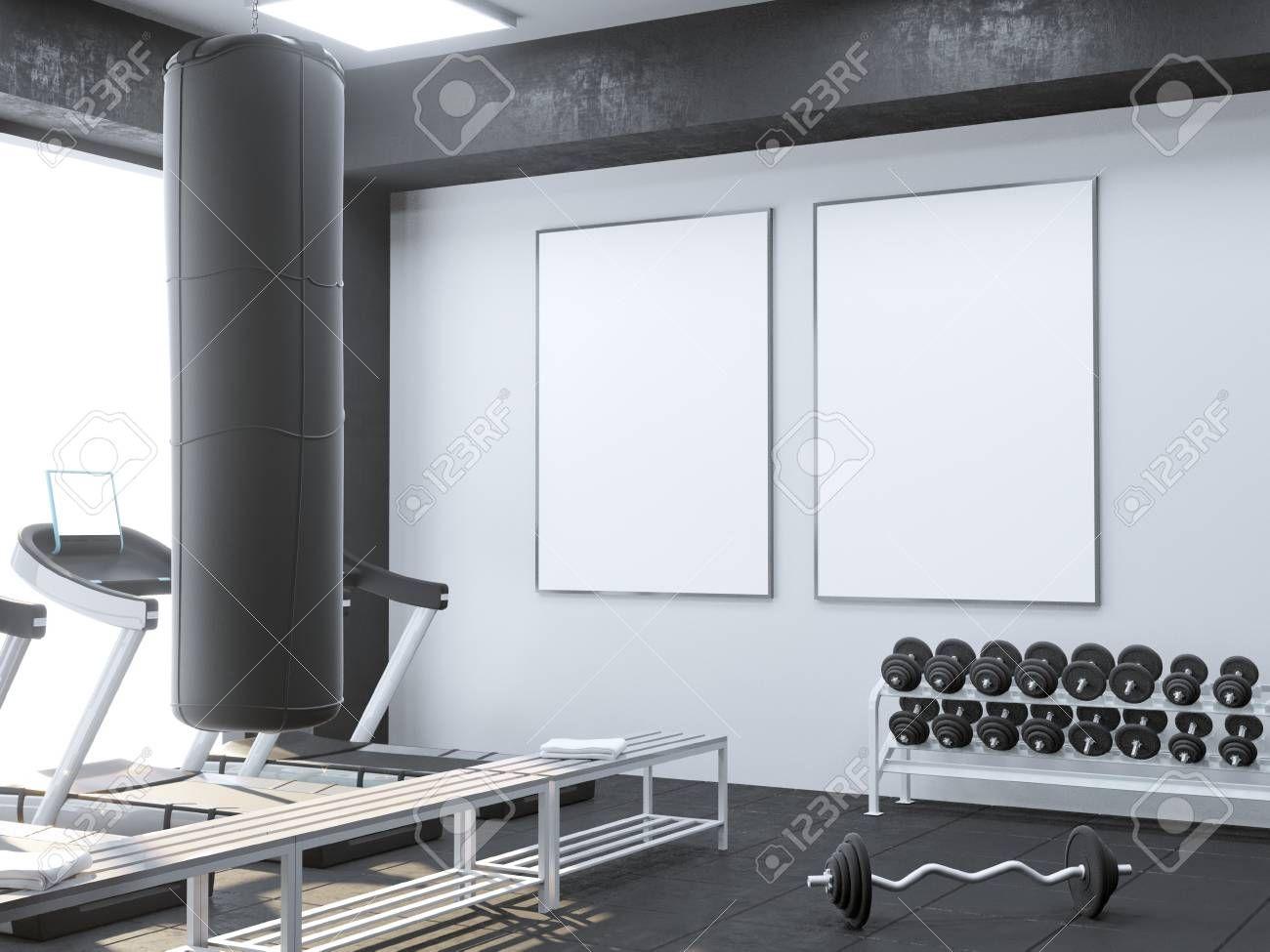 Mock up scene, 3d illustration , sport, gym, fitness, locker room trainer, treadmill, up, view, wall, white Stock Photo ,