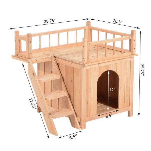 Pawhut 2 Story Indoor Outdoor Wood Cat House Shelter Wood Dog House Cat House Diy Cat House Plans