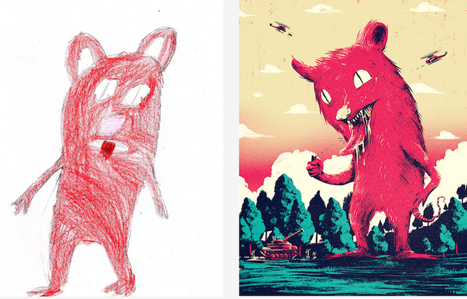 Adults Reinterpret Children S Drawings In The Monster Project