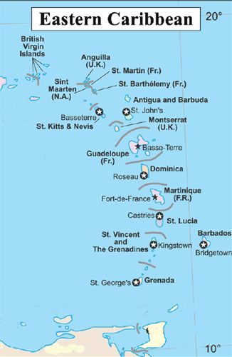 Map of the Islands served by the US Embassy in Bridgetown Sand
